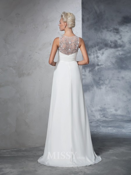 A-Line/Princess V-neck Chiffon Sweep/Brush Train Wedding Gown With Beading Ruched