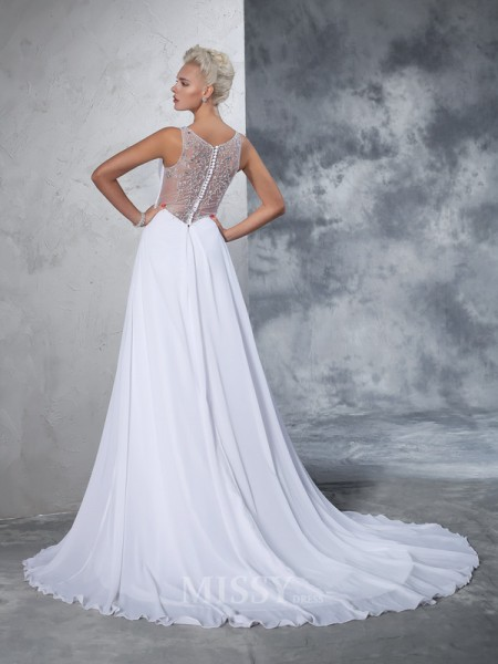 A-Line/Princess V-neck Chiffon Beading Cathedral Train Wedding Gown With Beading