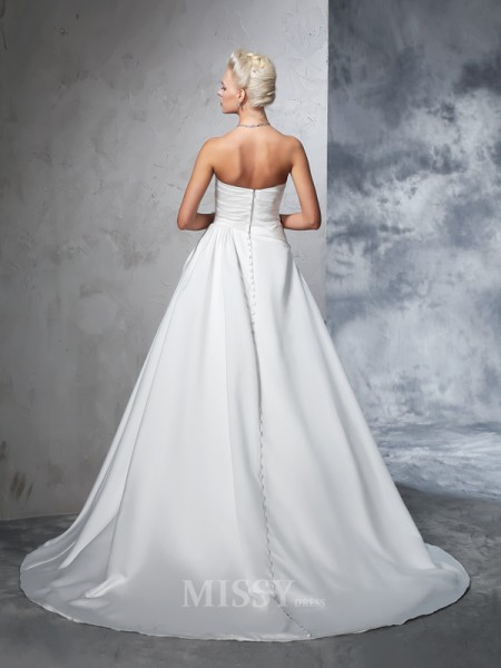 Ball Gown Strapless Satin Chapel Train Wedding Dress With Ruched