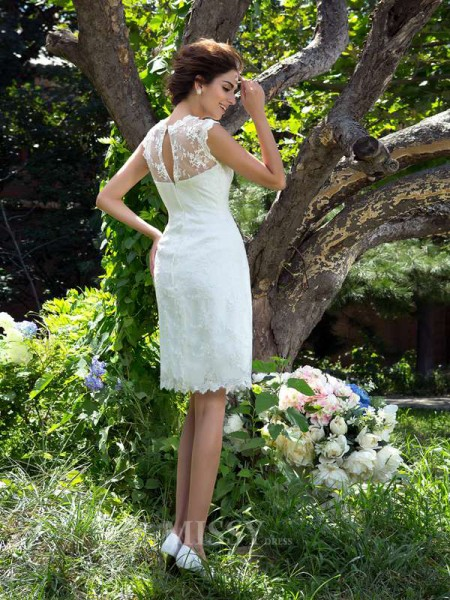 A-Line/Princess Sheer Neck Satin Knee-Length Wedding Dress With Beading Applique