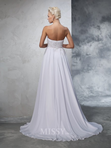 A-Line/Princess Sweetheart Chiffon Beading Sweep/Brush Train Wedding Gown With Ruffles