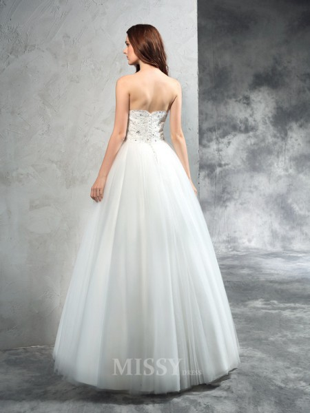 A-Line/Princess Sweetheart Floor-Length Net Wedding Dress With Ruched Beading