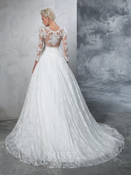 Ball Gown Long Sleeves Jewel Lace Court Train Wedding Dress With Rhinestone