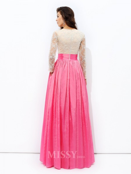 A-Line/Princess V-neck Long Sleeves Lace Floor-Length Taffeta Dress With Pleats