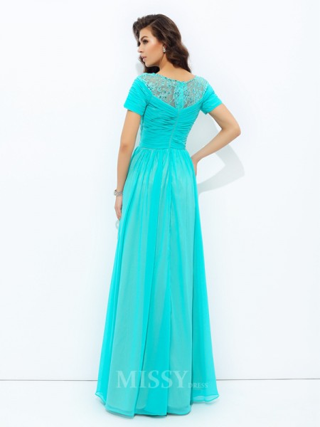 A-Line/Princess Bateau Short Sleeves Lace Floor-Length Chiffon Dress With Sash