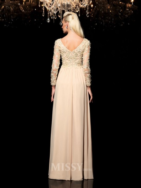 A-Line/Princess V-neck Long Sleeves Floor-Length Chiffon Dress With Ruched Applique