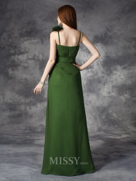 A-line/Princess V-neck Floor-Length Chiffon Dress With Beading Ruched