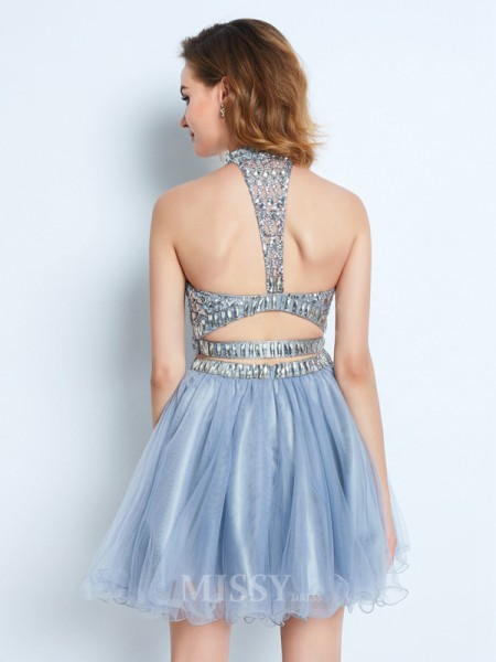 A-Line/Princess High Neck Sleeveless Short/Mini Net Two Piece Dress With Beading