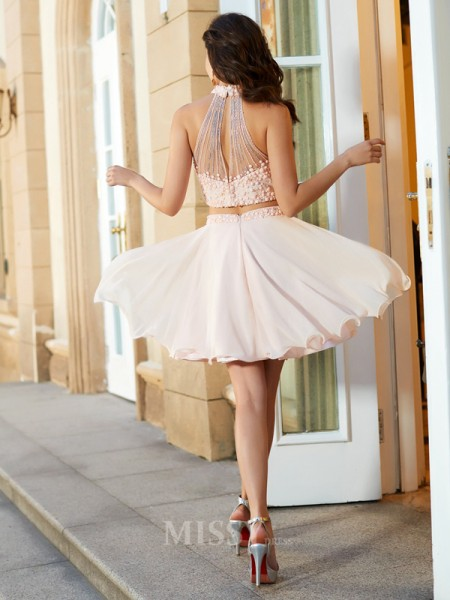 A-Line/Princess Halter Sleeveless Chiffon Short/Mini Two Piece Dress With Beading