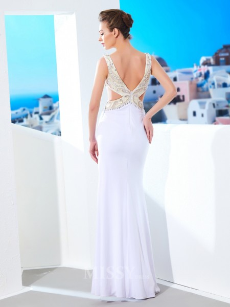 Sheath/Column Floor-Length Spandex V-neck Beading Sleeveless Dress