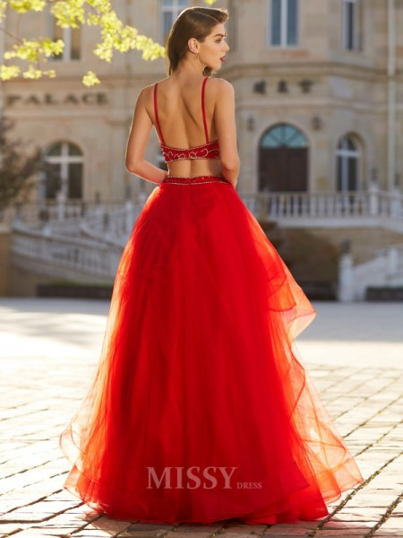 A-Line/Princess Floor-Length Tulle Spaghetti Straps Beading Sleeveless Dress