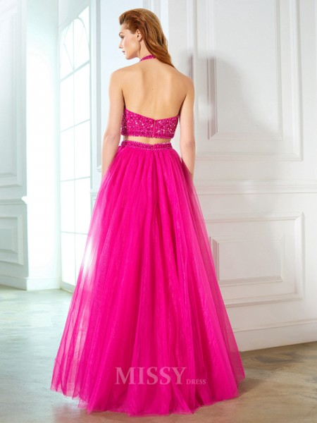 A-Line/Princess Halter Sleeveless Net Floor-Length Two Piece Dress With Beading