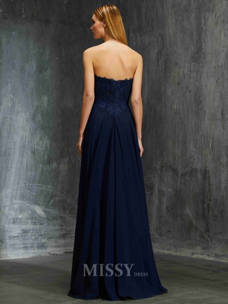 A-Line/Princess Floor-Length Chiffon Sweetheart Applique Sleeveless Dress
