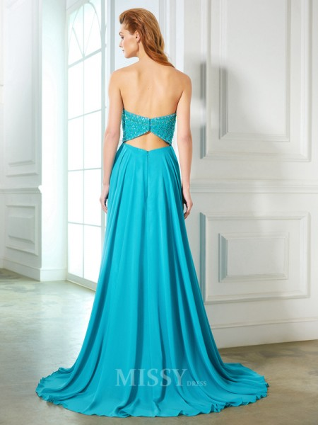 A-Line/Princess Sweetheart Sleeveless Chiffon Sweep/Brush Train Dress With Beading