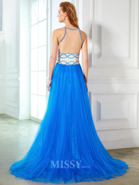 A-Line/Princess Jewel Sleeveless Floor-Length Net Dress With Beading