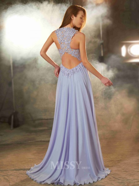 A-Line/Princess Scoop Sleeveless Floor-Length Chiffon Dress With Applique