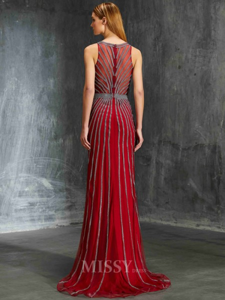 Sheath/Column Sweep/Brush Train Net Scoop Beading Sleeveless Dress