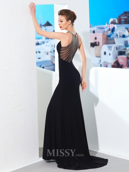 Sheath/Column Jewel Sleeveless Spandex Sweep/Brush Train Dress With Beading