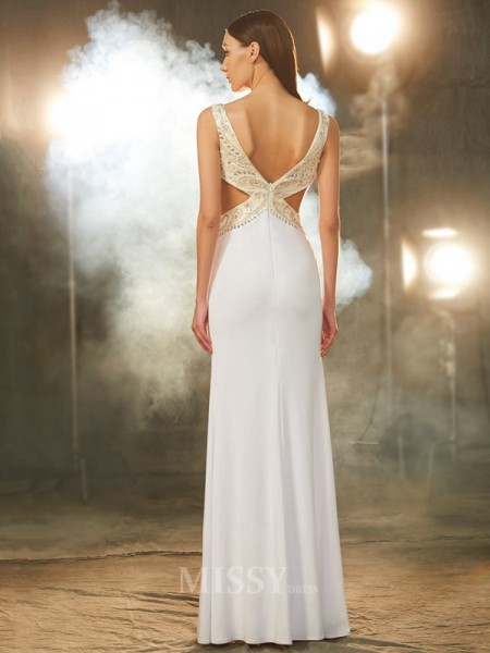 Sheath/Column V-neck Sleeveless Floor-Length Spandex Dress With Beading