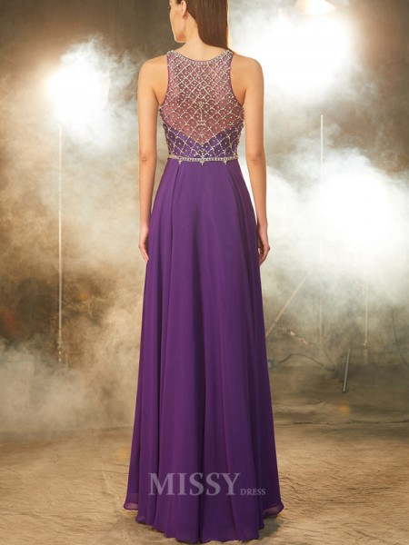 A-Line/Princess Floor-Length Chiffon Scoop Crystal Sleeveless Dress