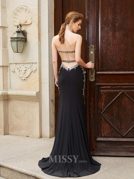 Sheath/Column Sweetheart Sequin Sleeveless Spandex Sweep/Brush Train Dress