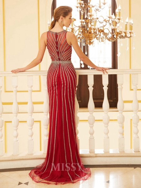 Sheath/Column Scoop Sleeveless Net Sweep/Brush Train Dress With Beading
