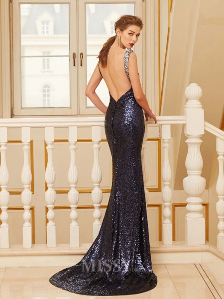 Sheath/Column V-neck Sleeveless Sweep/Brush Train Sequins Dress With Beading