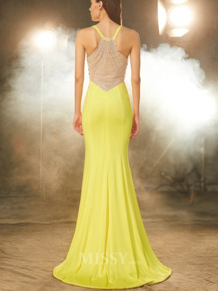 Trumpet/Mermaid V-neck Sleeveless Sweep/Brush Train Spandex Dress With Beading