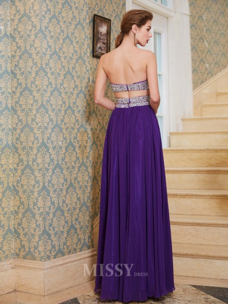 A-Line/Princess Floor-Length Chiffon Sweetheart Crystal Sleeveless Dress