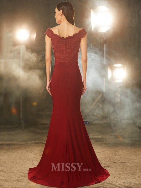 Trumpet/Mermaid Off-the-Shoulder Sleeveless Spandex Sweep/Brush Train Dress With Lace