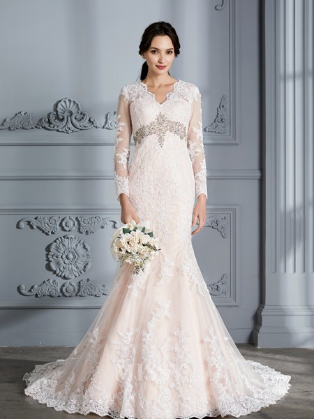 Trumpet/Mermaid V-neck Organza Long Sleeves Beading Sweep/Brush Train Wedding Dress