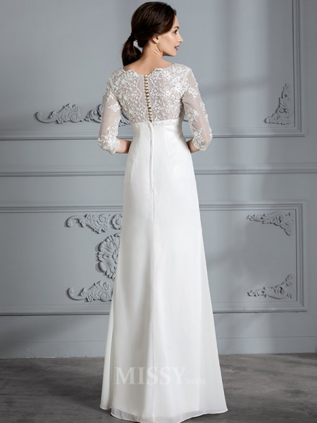 Sheath/Column V-neck Chiffon 3/4 Sleeves Floor-Length Wedding Dress