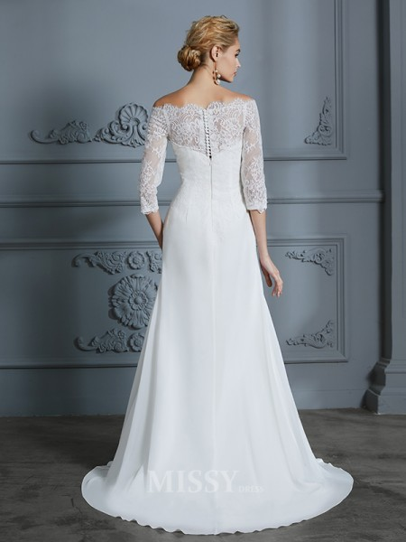 Trumpet/Mermaid 1/2 Sleeves Sweep/Brush Train Off-the-Shoulder Chiffon Wedding Dresses