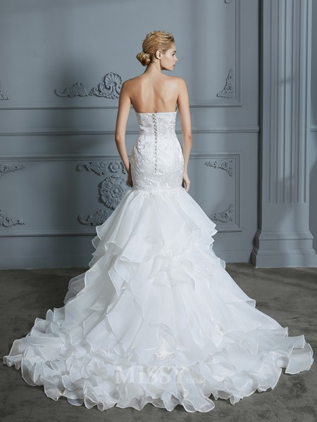Trumpet/Mermaid Sweetheart Ruffles Sweep/Brush Train Sleeveless Organza Wedding Dresses