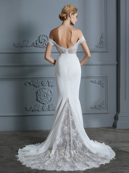 Trumpet/Mermaid Sleeveless Lace Sweep/Brush Train Off-the-Shoulder Chiffon Wedding Dresses