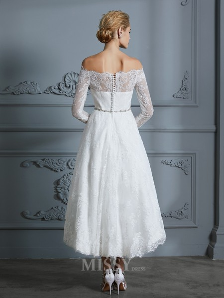 A-Line/Princess Asymmetrical Off-the-Shoulder Long Sleeves Lace Wedding Dresses