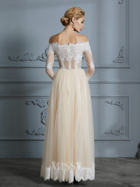 A-Line/Princess Long Sleeves Off-the-Shoulder Floor-Length Tulle Wedding Dresses With Lace
