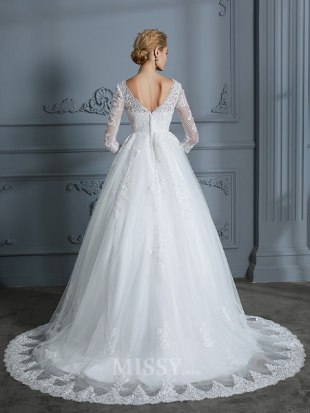 Ball Gown 3/4 Sleeves Court Train Lace Tulle V-neck Wedding Dresses