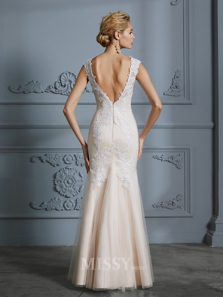 Trumpet/Mermaid Scoop Tulle Applique Sleeveless Floor-Length Wedding Dresses