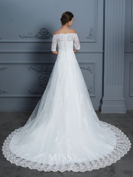 Ball Gown Off-the-Shoulder Lace 1/2 Sleeves Beading Court Train Wedding Dress