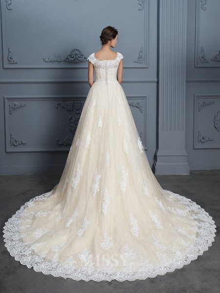 Ball Gown Sweetheart Lace Short Sleeves Beading Court Train Wedding Dress