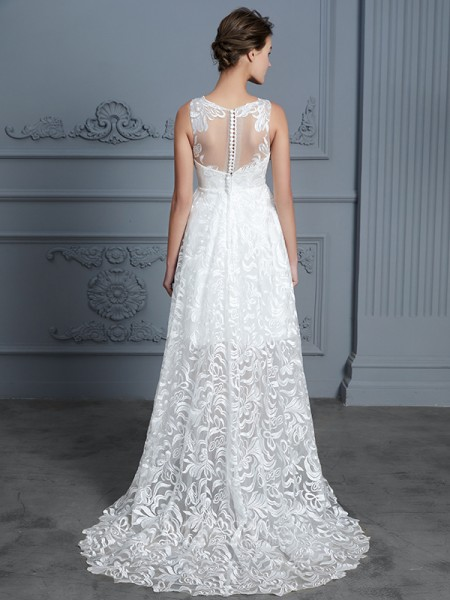 A-Line/Princess Scoop Lace Sleeveless Lace Asymmetrical Wedding Dress