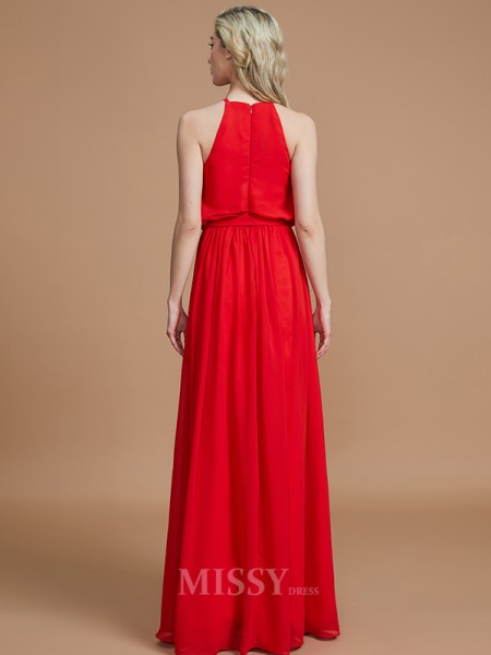 A-Line/Princess Chiffon Sleeveless Halter Sash/Ribbon/Belt Floor-Length Bridesmaid Dress