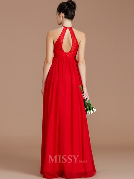 A-Line/Princess Chiffon Sleeveless Halter Lace Floor-Length Bridesmaid Dress