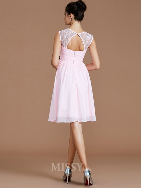 A-Line/Princess Chiffon Sleeveless Sweetheart Lace Short/Mini Bridesmaid Dress