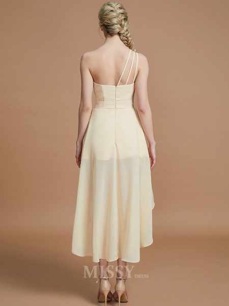 A-Line/Princess Chiffon Sleeveless One-Shoulder Layers Asymmetrical Bridesmaid Dress