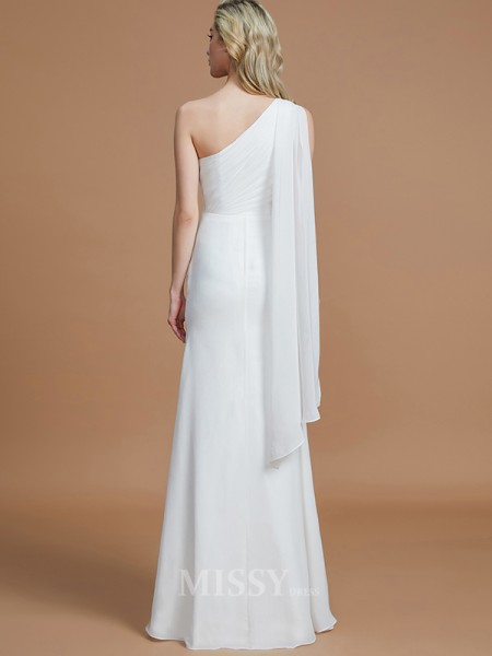 Sheath/Column Chiffon Sleeveless One-Shoulder Floor-Length Bridesmaid Dress