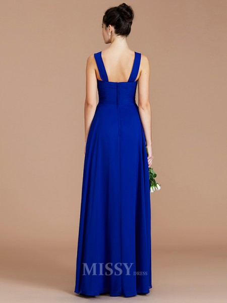 Empire Chiffon Sleeveless Sweetheart Ruched Floor-Length Bridesmaid Dress