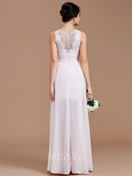 A-Line/Princess Chiffon Sleeveless Jewel Ruched Floor-Length Bridesmaid Dress