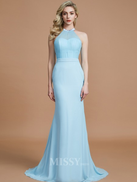 Trumpet/Mermaid Chiffon Sleeveless Scoop Sweep/Brush Train Bridesmaid Dress